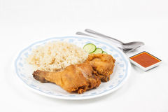 Fried chicken rice set Stock Images