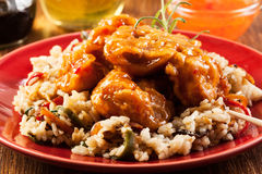 Fried chicken with rice and sweet and sour sauce Stock Photo