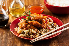 Fried chicken with rice and sweet and sour sauce Royalty Free Stock Images