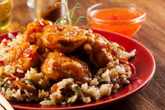 Fried chicken with rice and sweet and sour sauce Royalty Free Stock Image