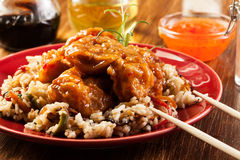 Fried chicken with rice and sweet and sour sauce Royalty Free Stock Photos