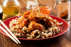 Fried chicken with rice and sweet and sour sauce Royalty Free Stock Photo