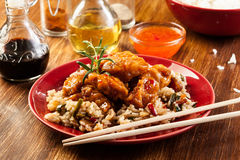 Fried chicken with rice and sweet and sour sauce Royalty Free Stock Photography