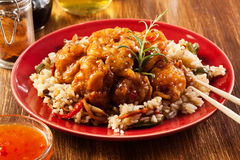 Fried chicken with rice and sweet and sour sauce Stock Image