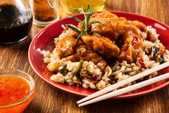 Fried chicken with rice and sweet and sour sauce Stock Photos