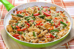 Fried chicken with rice. And vegetables Stock Photo