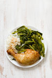 Fried chicken with rice and vegetables Stock Photos
