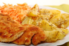 Fried chicken roasted potatos and carrot salad Royalty Free Stock Photos