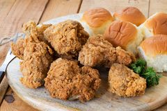 Fried Chicken and Rolls Stock Photography