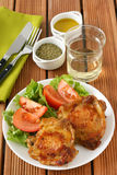Fried chicken with salad Stock Images