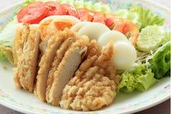 Fried Chicken Salad Royaltyfri Bild