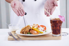 Fried Chicken salad with Cola Stock Photos