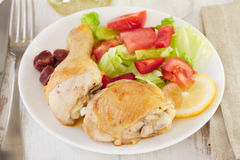 Fried chicken with salad Royalty Free Stock Images