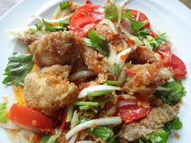 Fried chicken salad. S Royalty Free Stock Photos