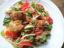 Fried chicken salad Stock Image