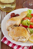 Fried chicken with salad. And sausages Stock Image