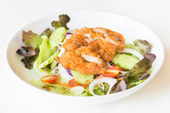 Fried Chicken salad with tomatoes,  Cucumber and Onion. Stock Image