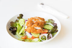 Fried Chicken salad with tomatoes,  Cucumber and Onion. Royalty Free Stock Images