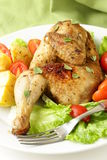 Fried chicken with salad Royalty Free Stock Photos