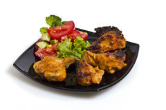 Fried chicken with salad Stock Photo