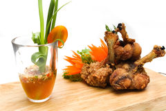 Chicken served with seafood sauce Royalty Free Stock Photos