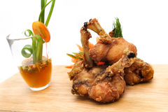 Chicken served with seafood sauce Stock Images