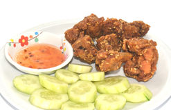 Fried chicken with sesame, Thaifood Royalty Free Stock Photography