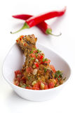 Fried chicken shin with salsa Royalty Free Stock Image