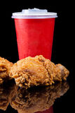 Fried Chicken with soft drink, fast food Royalty Free Stock Photos