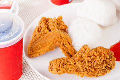 Fried Chicken, soft drink and Rice , Fast food Royalty Free Stock Photos