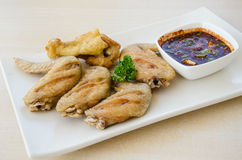 Fried chicken with spicy sauce Stock Photography