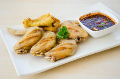 Fried chicken with spicy sauce Royalty Free Stock Image