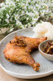 Fried chicken and sticky rice. Royalty Free Stock Photography