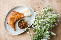 Fried chicken and sticky rice. Stock Photos