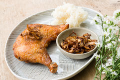 Fried chicken and sticky rice. Stock Photo
