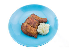 Fried Chicken with sticky rice Royalty Free Stock Images
