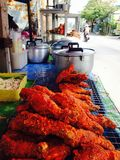 Fried Chicken beside the street. Somewhere in Bangkok, General of Thai life Stock Image