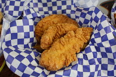Fried chicken strip. A picture of a fried chicken strip Royalty Free Stock Photo
