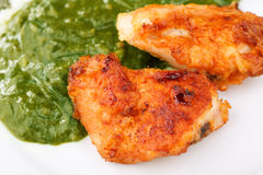 Fried Chicken Strips with spinach. Two Fried Chicken Strips with spinach puree Royalty Free Stock Image