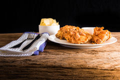 Fried chicken on the table Stock Photos