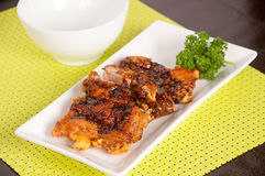 Fried chicken with teriyaki sauce Royalty Free Stock Photo
