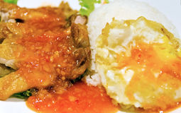 Fried Chicken with Thai Chili Sauce and Egg Royalty Free Stock Photography