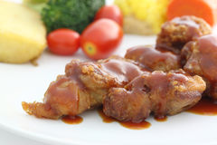 Fried Chicken with tomato sauce and vegetable Stock Images