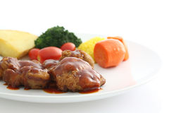 Fried Chicken with tomato sauce and vegetable Royalty Free Stock Photography