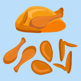 Fried chicken or turkey and its parts Stock Photography