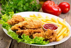 Fried chicken with vegetable Stock Image