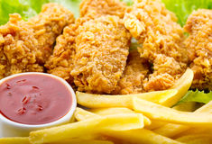 Fried chicken with vegetable Stock Photo