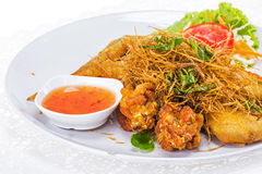 Fried chicken with vegetable Royalty Free Stock Image