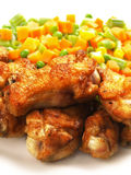 Fried chicken with vegetables. Close up of fried chicken with vegetables Stock Photography