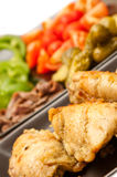 Fried chicken and vegetables Stock Image